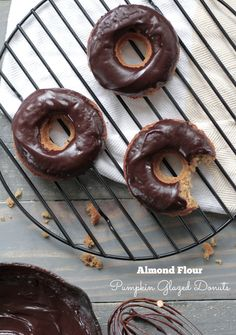 The BEST grain-free pumpkin glazed donuts made with almond flour!