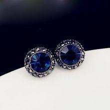 New Hot cristal Charm mode bleu brillant Ear Studs ronde boucles d'oreilles fille bijoux livraison gratuite(China (Mainland))