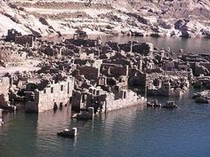 A submerged village appears when dam levels drop
