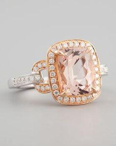 Frederic Sage 18k Rose Gold Pave Diamond Morganite Ring - Neiman Marcus