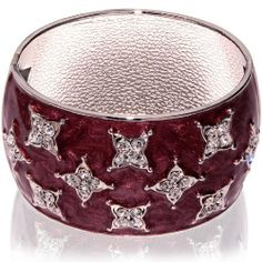 Hinged Bangle Bracelet-Maroon with clear CZ stones accent Leelo Jewelries. $13.00. Weight: 3 oz. PRODUCT CODE: BBB-2012-0004. Bracelet height: 51 mm (2 inches). Brass material. Bracelet width: 60 mm (2.36 inches)
