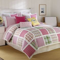 Nautica Torrey Beach Comforter and Sham Set by NAUTICA. $119.00. Machine Washable. Fill: 100% Polyester. Size: Twin - Color: Multi. Material Content: 300 Thread Count 100% Cotton. Nautica Torrey Beach Comforter and Sham Set will bring a splash of fun and color into your bedroom. The wonderful color palette includes shades of neon pink, kelly green, royal blue, lemon yellow, and coral colors. The faux quilt pattern gives the comforter and sham a classic look as ...