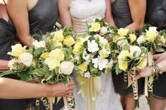 Yellow and green wedding bouquets