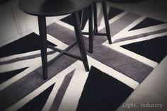 【 輕工業家具 】英國國旗手工訂製地毯-黑白色-防滑地墊掛毯尺寸定製訂做復古英式米字旗門墊餐廳酒吧服飾店長毛北歐美工業風