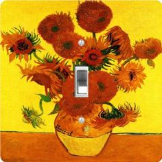 """Rikki KnightTM Van Gogh Art Still Life with Fifteen Sunflowers - Single Toggle Light Switch Cover by Rikki Knight. $13.99. The Van Gogh Art Still Life with Fifteen Sunflowers single toggle light switch cover is made of commercial vibrant quality masonite Hardboard that is cut into 5"""" Square with 1'8"""" thick material. The Beautiful Art Photo Reproduction is printed directly into the switch plate and not decoupaged which make these Light Switch Plates suitable for use in any r..."""