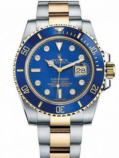 Marca: Rolex Serise: Submariner Modello: 116613LB Forma della cassa: Dimensioni cassa rotonda: 40 mm Materiale cassa: acciaio inossidabile e oro Colore quadrante: blu Vetro: zaffiro resistente ai graffi Lunetta: girevole unidirezionale Corona a vite: Sì Resistenza all'acqua: 100 M Stylish Watches, Luxury Watches For Men, Cool Watches, Rolex Watches, Elegant Watches, Analog Watches, Casual Watches, Wrist Watches, Rolex Submariner Blue