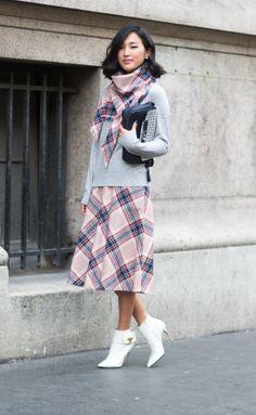 Pretty in plaid and white-hot booties.