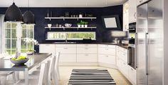 Marbodal Ekerö Vit med öppna hyllor. Black and white kitchen
