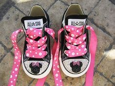 Minnie Mouse Inspired Bling Converse - Pink Bow