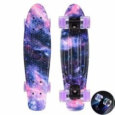 "CHI YUAN 22 Inch Plastic Skateboard Cruiser Board 22"" X 6"" Retro Longboard Skate Long Board Graphic Galaxy Dream Starry Complet"