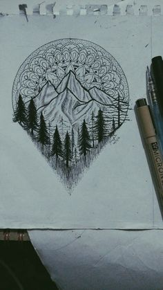 If the circle art at the top of the drawing was a compass rose, this would make a great tattoo! #ThighTattooIdeas