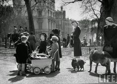 vintage everyday: Black and White Photos of Everyday Life in Hyde Park, London in 1951 Children playing and people walking their pets in the park on a lovely spring day.(Photos by Cornell Capa, via LIFE archives Black And White People, Black And White Dog, Vintage London, Old London, London Pubs, London History, British History, Vintage Photography, Street Photography