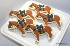 Baked Perfection: Equestrian Themed Vanilla Sugar Cookies with Horses, Riding Boots, and Polo sticks for Equestrian themed event Farm Cookies, Horse Cookies, Cute Cookies, Cupcake Cookies, Sugar Cookies, Cookies Et Biscuits, Cupcakes, Horse Birthday, Cowboy Birthday