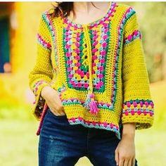 Crochet Dress Girl, Crochet Jumper, Crochet Jacket, Crochet Woman, Crochet Cardigan, Crochet Clothes, Freeform Crochet, Diy Crochet, Crochet Stitches