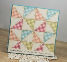 Square punched quilted pinwheel card