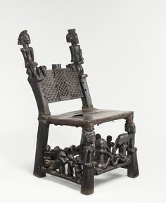 Africa | Chief's Chair from the Chokwe people of Angola | 19th century | Wood, leather and brass.
