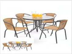 5 Piece Patio Dining Set Table Chairs Poolside Outdoor Drink Eat Outside Summer