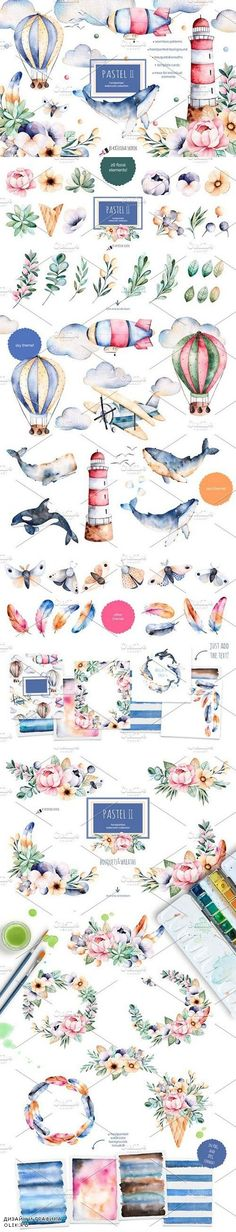 Pastel 2 collection 911156 Graphic Design Illustration, Watercolor Illustration, Watercolor Paintings, Watercolors, Painting & Drawing, Zentangle, Sea Art, Wedding Card Templates, Illustrations And Posters