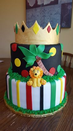 Lion Prince & Jamaican Color  inspired Baby Shower Cake