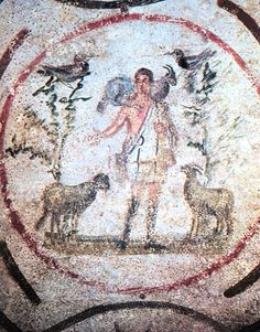 The Good Shepherd | Unknown | 3rd century | fresco (detail) | Catacombs of Priscilla, Cubiculum of the Good Shepherd, Rome, Italy