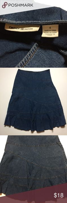 """Dkny Jean Skirt Size 4. Lightweight Denim. 100% cotton. Tierd Skirt. Waist measures 30"""". Length is 26"""". Figure flattering fit and very comfortable.  Great condition.  (16) Dkny Skirts"""