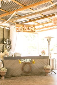 bar ideas for your wedding.. Love the bar sign more than anything!!
