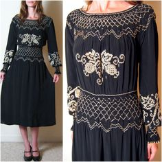 vintage 1930s SILK SMOCKED and EMBROIDERED peasant dress, m - l. $184.00, via Etsy.
