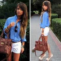 blue blouse, white shorts, nude heels