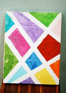 Taped Painted Canvases.  Good b'day party activity