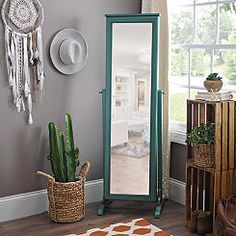 Store your necklaces, bracelets, earrings and more in the Antique Teal Cheval Armoire Mirror and keep them safely out of sight. Long Mirror, Mirror Box, Mirror Jewelry Armoire, Jewelry Cabinet, Decoration, Storage Spaces, Interior Architecture, Bedroom Decor, Teal