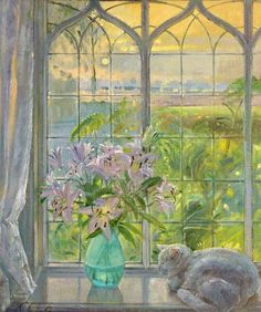 Cat in the window painting. Timothy Easton - Dawn Lilies