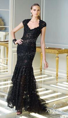 Alyce 2325 Claudine Cap Sleeve Lace Gown $491.99 Alyce Paris Claudine Evening Dresses