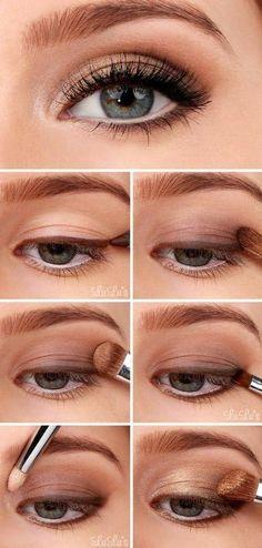 Golden Smokey Eye Make-up Tutorial! :-) Golden Smokey Eye Make-up Tutorial! Smokey Eyeshadow Tutorial, Eyeshadow Tutorial For Beginners, Video Tutorials, Beauty Tutorials, Eye Makeup Tutorials, Hair Tutorials, Makeup Tutorial For Beginners, Eyeshadow Step By Step, Everyday Makeup Tutorials