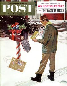 """""""Merry Christmas from the IRS,"""" Saturday Evening Post Cover, December 1960 Giclee Print by Ben Kimberly Prins Post Bus, Journal Vintage, Norman Rockwell Art, Doodle, Saturday Evening Post, Mid Century Art, Branding, Vintage Magazines, Cover Art"""