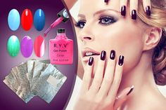 4 Gel Polishes & Removal Wraps