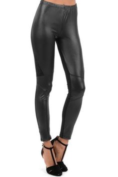 WET LOOK LEGGINGS WITH LACE PANELS