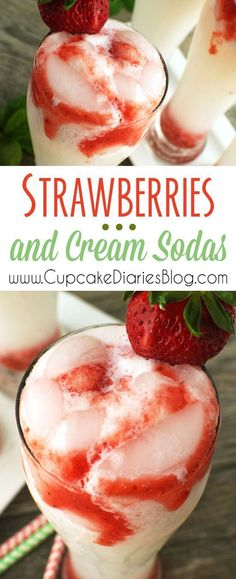 Strawberries and Cream Sodas Recipe via Cupcake Diaries - A creamy soda is swirled with sweet strawberry syrup and served over ice. This is the perfect drink for summer! The BEST Easy Non-Alcoholic Drinks Recipes - Creative Mocktails and Family Friendly, Alcohol-Free, Big Batch Party Beverages for a Crowd!