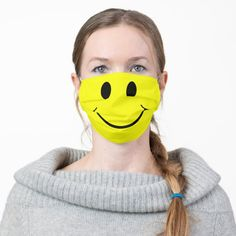 Shop Cute Happy Yellow Face Cloth Face Mask created by ironydesigns. Shape Of You, Mask Design, Snug Fit, Sensitive Skin, Stylish, Minion Pumpkin, Minion Banana, Minions Quotes, Minions Minions