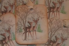 Baby Deers  Vintage Christmas Gift Tags by GreenAcresCottage on Etsy