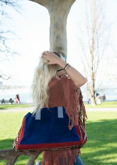 The Boho Bazaar: Blue suede tote