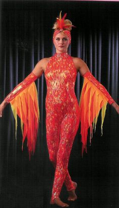 Fire costume, Flame costume, Phoenix costume - simple solution for flames or feathers on the arms.