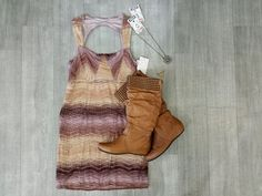 Transition your favourite summery looks into winter by adding boots and your favourite cardy or blazer! This adorable #FreePeople dress gives you a great look you can rock all year! //dress, $19//#SteveMadden, boots $24//necklace, $5//   www.platosclosetbrampton.com Your Favorite, Steve Madden, Boho Chic, Free People, Blazer, Rock, Boots, Winter, Dresses