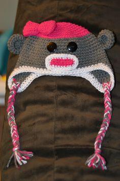 girl sock monkey hat with bow....ooooo this would look sooo cute on Aubrey :)))