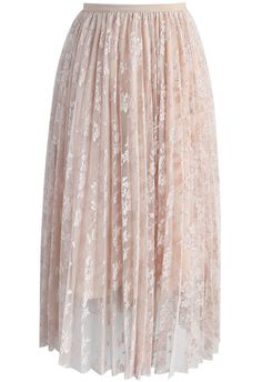 Appealing Blossom Mesh Pleated Skirt in Nude- New Arrivals - Retro, Indie and Unique Fashion