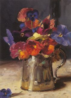 Randall Lake:  Pansies in a Silver Vase