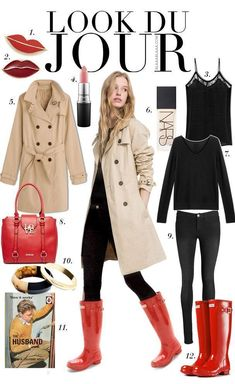 Day Outfit without rainboots Look Du Jour: Diesen Juni top! Rainy Day Outfit For Work, Cute Rainy Day Outfits, Fall Winter Outfits, Autumn Winter Fashion, Smart Casual Outfit, Outfits Casual, Red Rain Boots, Snow Boots, Hunter Boots Outfit