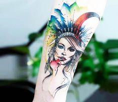 Plume Girl tattoo by Miss Pank Tattoo
