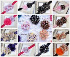 Set of 3 Flower Headbands, Dots Shabby, Infant Headband, Baby Headband, Baby Bows, Newborn Headband, Baby & Toddler, Birthdays, School - pinned by pin4etsy.com