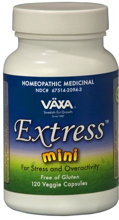 """VÄXA Extress mini is a doctor-formulated gluten-free homeopathic medicinal designed to address how your body responds to stress and tension. Extress mini provides the same effective formula as Extress in smaller, easier to swallow capsules for those who have difficulty. The formula provides you with the homeopathic ingredients needed to allow your body to better handle life's stressors while also helping to """"take the edge off.""""   Buy Direct- $29.95 with a 30-Day Money Back Guarantee!"""