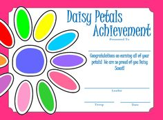 Daisy Petals Completion Certificate